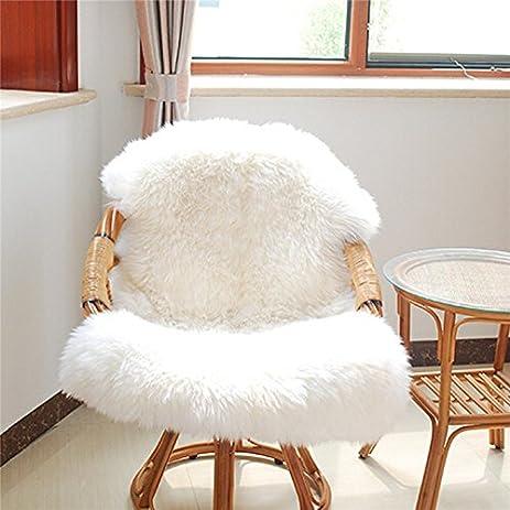 Genial Hairy Carpet Sheepskin Chair Cover Bedroom Faux Mat Seat Pad Plain Skin Fur  Plain Fluffy Area