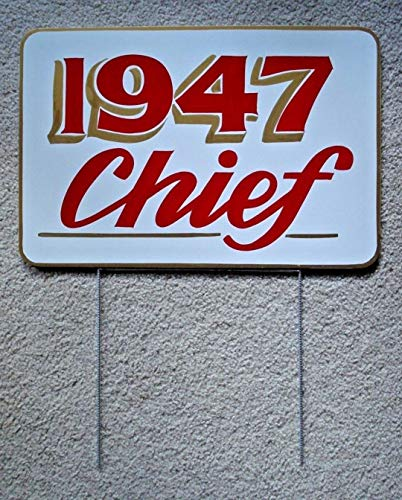 Sign Indian Motorcycle 1947 Chief Display Hand Painted 12x18 w/Stake Outdoor.for Businesses, Individuals and Government Agencies