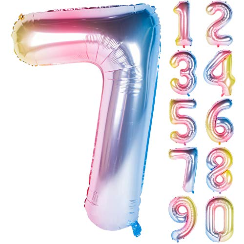 (New 40 Inch Number Rainbow Gradient Digit Helium Foil Birthday Party Balloons Number)