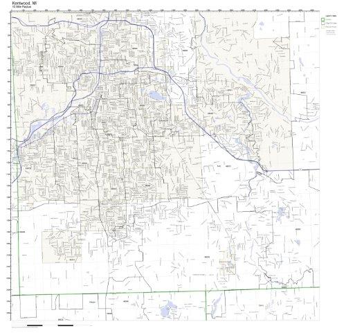 Kentwood, MI ZIP Code Map Laminated (City Of Kentwood Michigan)