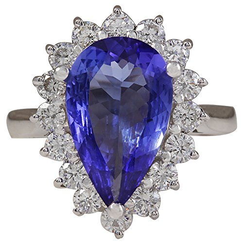 (4.13 Carat Natural Blue Tanzanite and Diamond (F-G Color, VS1-VS2 Clarity) 14K White Gold Cocktail Ring for Women Exclusively Handcrafted in USA)