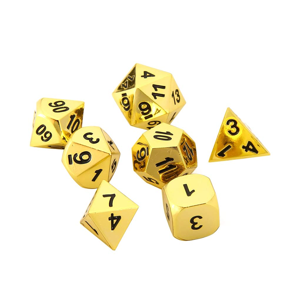 7 Pieces Polyhedral Dice Set Golden Painted with Black Numbers for RPG D D or Math Teaching