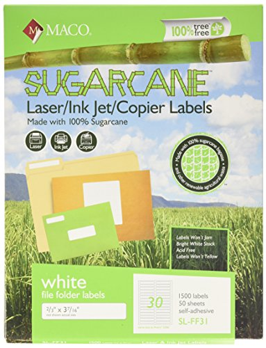 MACO Sugarcane Laser Ink Jet Copier White File Folder Labels - 2 3 x 3-7 16 Inches - 30 Per Sheet - 1500 Per Box (SL-FF31)