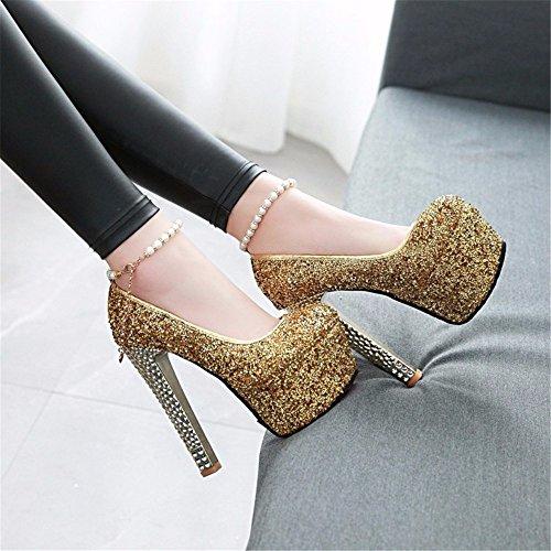 De Boucle De Forme Golden Étanches 15Cm Chaussures Pailleté Catwalk La D'Haut Eu35 Robe Plate Iwq1aTTg