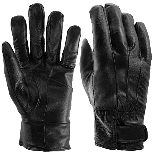 - Sole Trends (1 Pair) Insulated Genuine Leather Gloves For Men Black Warm Light Fleece Lining Winter