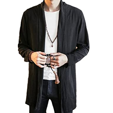 d8f1381cd Men Cotton Cardigan Coat Jacket Long Plus Size Loose Casual Vintage Chinese  Ethnic Style Yukata Top at Amazon Men's Clothing store: