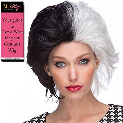 Cruella De Vil Color Black n White - Sepia Wigs Kruella Devil Dalmations Animation Dogs Villain Cosplay Fancy Dress Synthetic Bundle Costume Wig -
