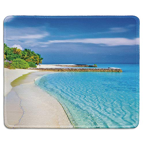 dealzEpic - Art Mousepad - Natural Rubber Mouse Pad Printed with Tropical Sea and Beach with Palm Trees and Piers - Stitched Edges - 9.5x7.9 inches
