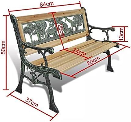 Dondans - Muebles de jardín, asientos de exterior, banco de jardín, para niños, diseño de animales, 80 x 24 cm, 37 cm de ancho, banco de jardín de plástico: Amazon.es: Hogar