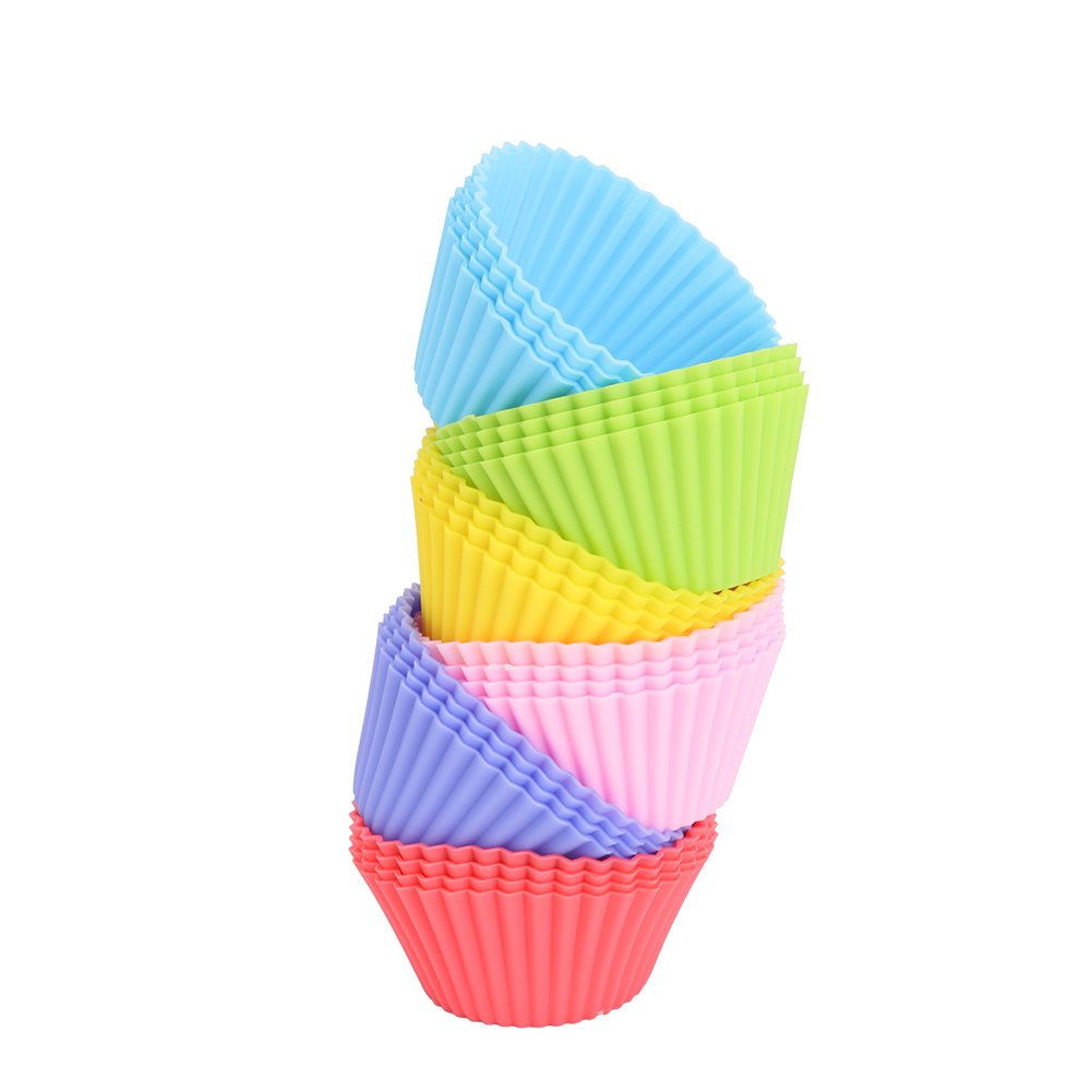 Yarssir 24 Pack Rainbow Bright Standard Silicone Reusable Cupcake Liners/Baking Cups/Muffin Cups/Baking Mold set for Party Fun EXPSFN014574