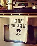 Funny Dishcloth/ Tea Towel ~ Let That Shiitake Go ~ Mushroom doing Yoga ~ Funny Kitchen Cloth, Vegetable Pun