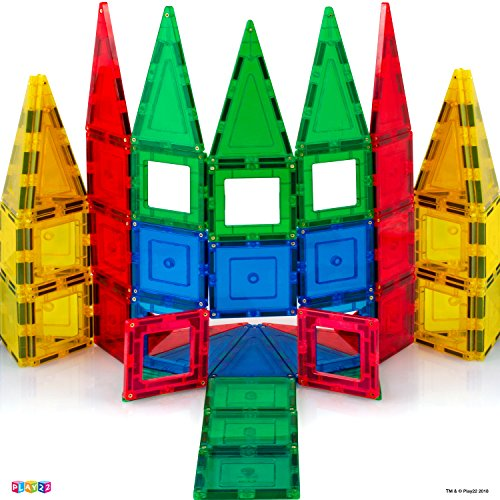 MAGEES Magnetic Building Blocks 35 Set - Magnet Toys Building, Strongest Magnets - Magnetic Tiles Includes Bonus 5 Piece Insert Number Cards - STEM 3D Magnet Tiles - Original Magees - By Play22 by Magees