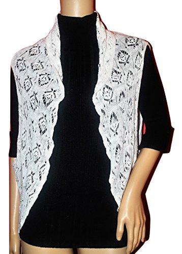 Vintage Suzie Women's Knit Vest Cream XL by Vintage Suzie