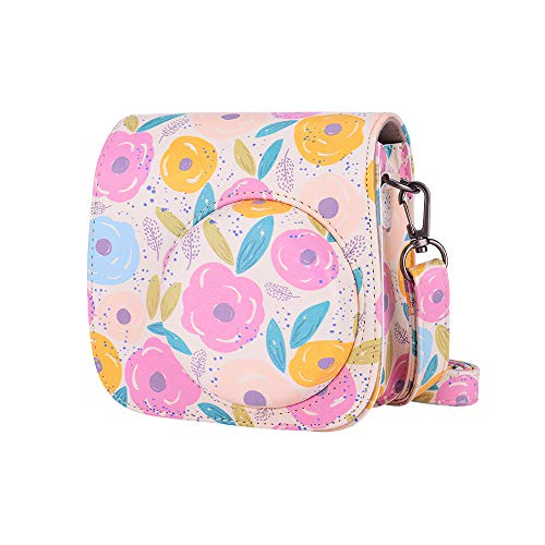 Bsuuy Compatible Mini 8 8+ 9 Camera Case for Fujifilm Instax Mini 8 8+ 9 Instant Film Camera with Shoulder Strap and Photo Accessories Pocket (Rape Flower)