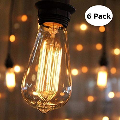 - Vintage Edison Bulb KINGSO Dimmable 60W Edison Light Bulb Squirrel Cage Filament Incandescent Antique Light Bulb E26 Base ST64 110V - 6 Pack