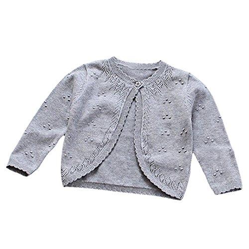 TAIYCYXGAN Baby Toddler Girls Princess Cardigan Knit Sweaters Winter Button Sweater Jacket Shawl Grey 9 12M