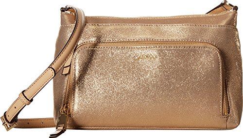 Calvin Klein Suede Top Zip Crossbody, Gold