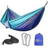 Forbidden Road Hammock Single & Double Camping Portable Parachute Hammock for Outdoor Hiking Travel Backpacking - 210D Nylon Taffeta Hammock Swing (Purple & Blue)