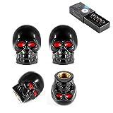 #7: Dsycar Black Skull Style Antirust Copper Core Motorcycle Bike Car Tires Valve Stem Caps, 4Pcs/Box