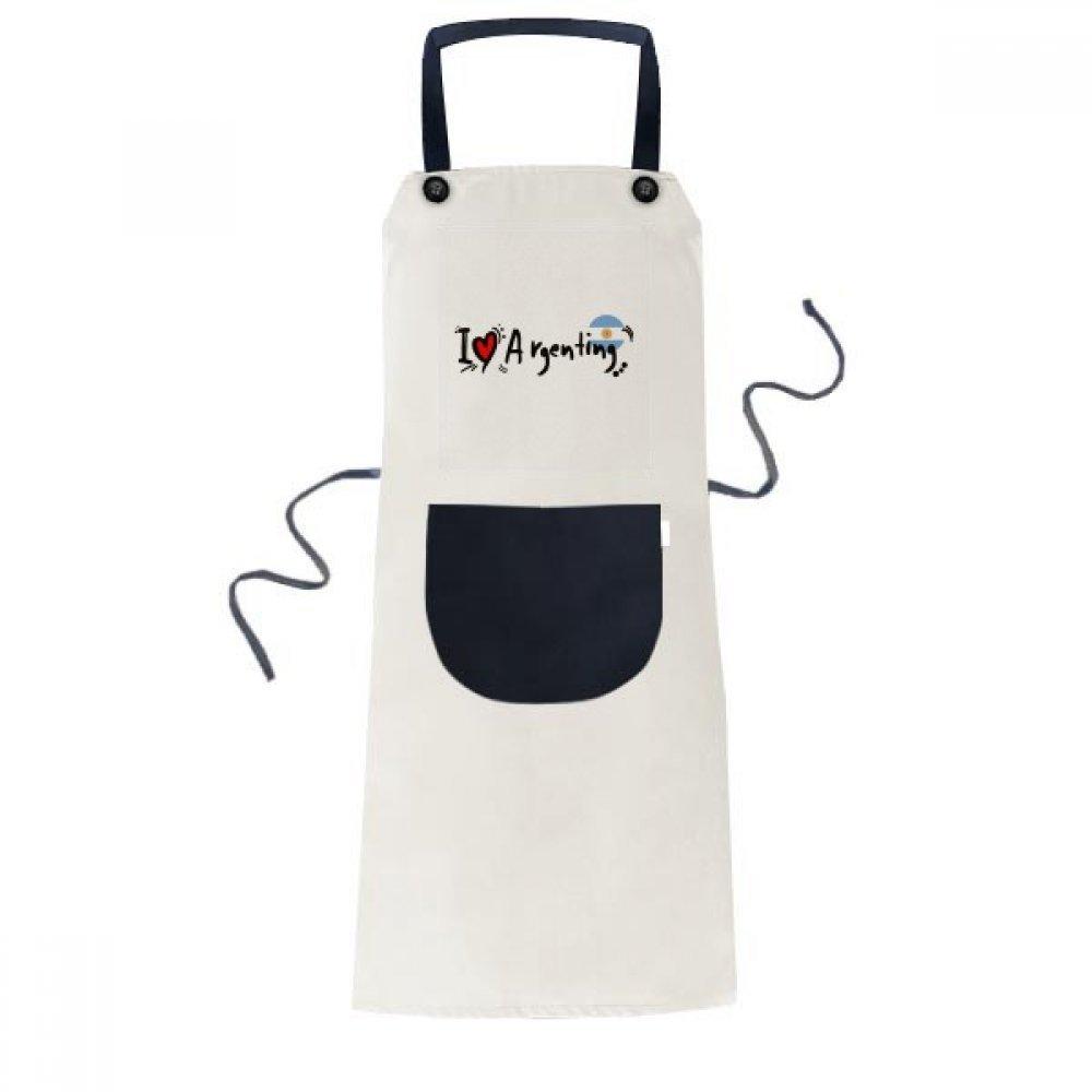 DIYthinker I Love Argenting Word Flag Love Heart Illustration Apron Cooking Bib Black Kitchen Pocket Women Men