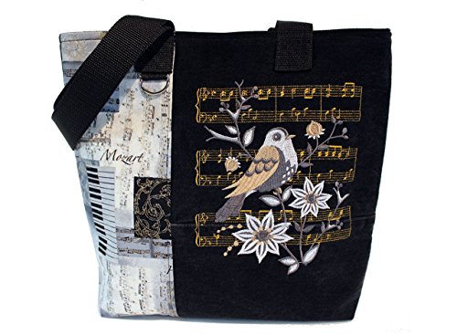 Tote Bag- Musical – A recycled denim, embroidered, lined totebag. Eco-Friendly handbags.