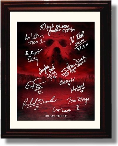 Framed Cast of Friday the 13th Autograph Replica Print - Fri