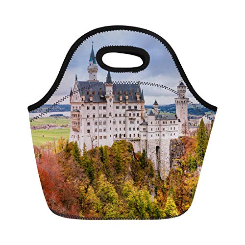 Semtomn Neoprene Lunch Tote Bag Neuschwanstein Castle the Famous Tourist Attraction in Bavarian Alps Reusable Cooler Bags Insulated Thermal Picnic Handbag for Travel,School,Outdoors,Work