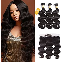 Ossilee Hair Lace Frontal with Bundles Malaysian Body Wave Human Hair with Frontal 10A Malaysian Virgin Hair Body Wave 3 Bundles with Lace Frontal Closure (18 20 22+16, Natural Color)