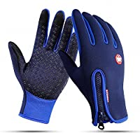 Outdoor Winter Touchscreen Waterproof Warm Adjustable Size Gloves for Running, Hiking, Clamming, Skiing, Cycling, Driving for Men & Women