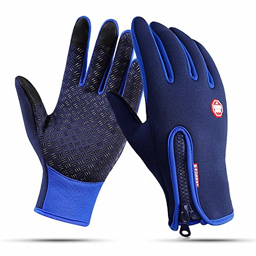 CYG&CL Outdoor Winter Touchscreen Waterproof Warm Adjustable Size Gloves Running, Hiking, Clamming, Skiing, Cycling, Driving Men & Women (Extra Large, Blue)