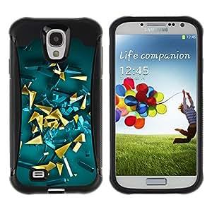 LASTONE PHONE CASE / Suave Silicona Caso Carcasa de Caucho Funda para Samsung Galaxy S4 I9500 / yellow gold abstract 3d polygon art