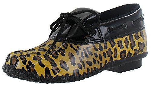 Corky's Women's Duck Boots Booties Rubber Mocs Rain Cheetah Size 7