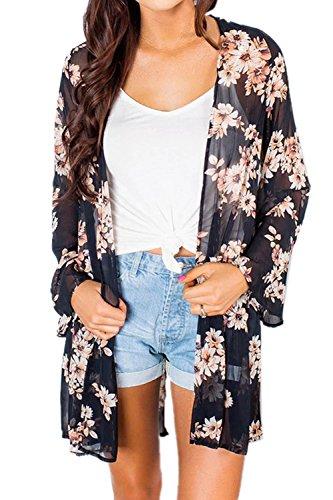 Kimono Nero Top Up Cardigan Cover Cardigan Donna moda Spiaggia Runant di stampato camicetta top gXf4Zx