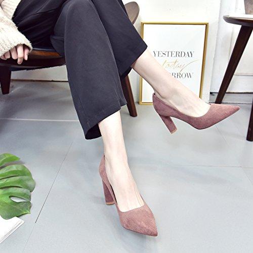 MDRW Shoes High Heeled Pink 9Cm Lady Bold Work Shoes Elegant Leisure 38 Women'S Matt Tip Port Follow Single Light Simple Spring Wild Shoes rvarwzq