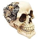 Ebros Steampunk Cyborg Protruding Gearwork Human Skull Statue Sci Fi Clockwork Gear Design Skeleton Cranium Figurine 4