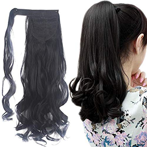 FUT Wrap Around Ponytail One Piece Clip In Curly Pony TIAL Hair Extensions 18inch 90g For Girl Lady Women Natural Black