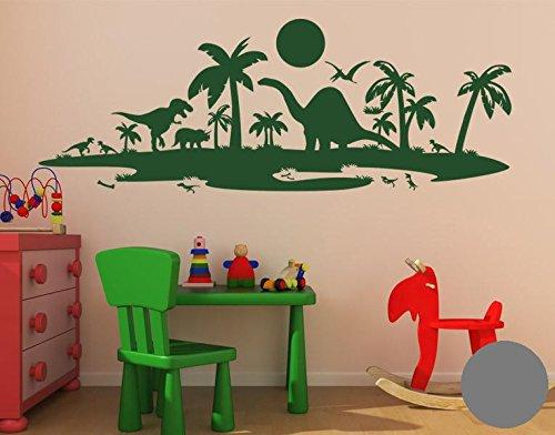 Klebefieber Wandtattoo Dinolandschaft B x H  100cm x 37cm 37cm 37cm Farbe  dunkelgrün B0725BTHCL Wandtattoos & Wandbilder 016e22