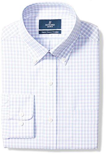 BUTTONED DOWN Men's Classic Fit Button-Collar Pattern Non-Iron Dress Shirt, Purple/Blue Check, 16.5