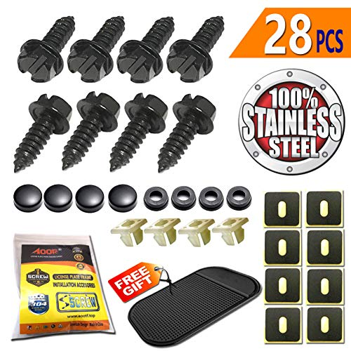 Aootf Black License Plate Frame Screws-Stainless Steel Anti Rust and Caps for Securing License Plates, Frames, Covers on Domestic Cars and Trucks