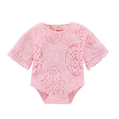 Mikrdoo Newborn Infant Baby Girl Flower Pink Lace Short Sleeve Romper Jumpsuit Outfit Clothes (6-12 Months, Pink2) (Romper Baby Pink Lace)