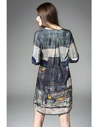 PU&PU Robe Aux femmes Ample Street Chic,Imprimé Col Arrondi Au dessus du genou Polyester , gray-m , gray-m