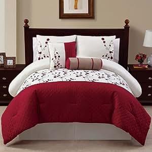 VCNY Sadie 5-Piece Comforter Set, King, Red