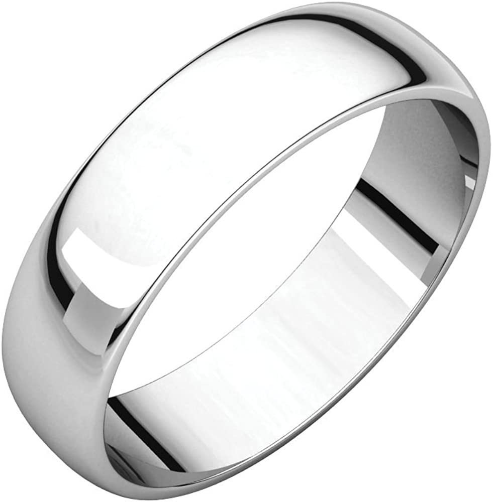 Security Jewelers 10k White Gold 3mm Half Round Light Band 10kt White Gold Ring Size 10