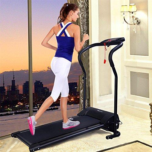 Elektrisches Laufband 800W Fitnessgerät Klappbarer Heimtrainer mit LCD-Display 120 kg Belastung Schwarz