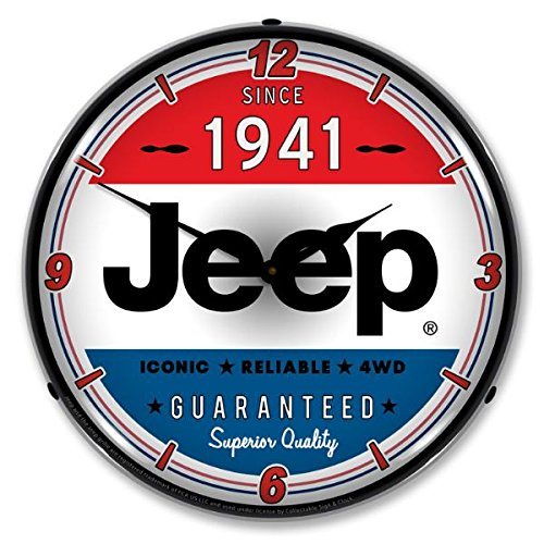 New Jeep Since 1941 Retro Vintage Style Advertising Backlit Lighted Clock - Ships Free Next Business Day to Lower 48 States