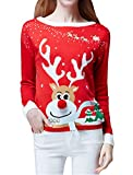 v28 Women's Ugly Christmas Sweater, Ladies Girls Cute Reindeer 3D Nose Sweater (XL, Red Color)