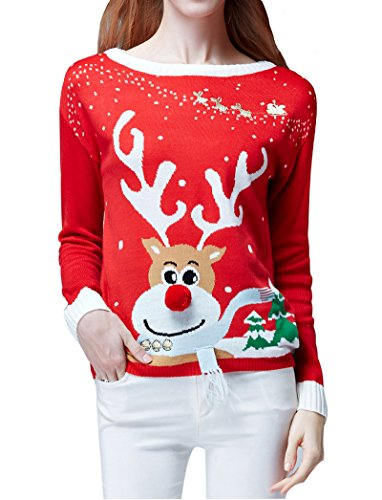 v28 Women's Ugly Christmas Sweater, Ladies Girls Cute Reindeer 3D Nose Sweater (XL, Red Color) by v28