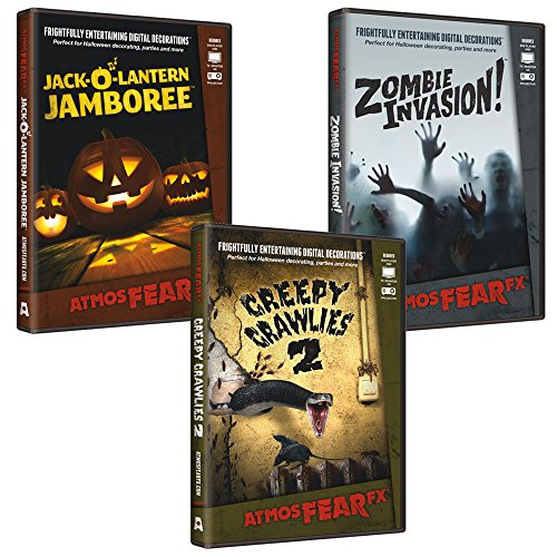 AtmosFearFX Zombie Invasion, Jack O Lantern Jamboree & Creepy Crawlies DVD Combo Pack. Virtual Halloween Window Projection Decoration.]()
