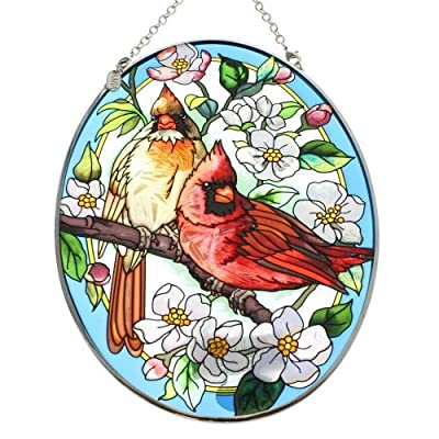 Amia Hand Painted Glass Suncatcher with Orchard Cardinal Design, 5-1/4-Inch by 7-Inch Oval: Home & Kitchen