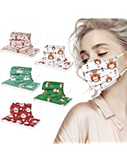 Christmas Disposable Face_Masks for Adults, 50 Pack Christmas 3-Ply Breathable Face_Mask Holiday Facemask for Women Men